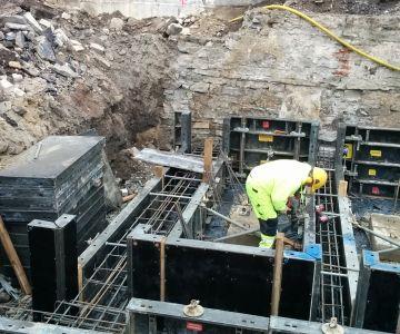Kalevi Spordihalli rekonstrueerimine, betoonitööd ja -elementide montaaž